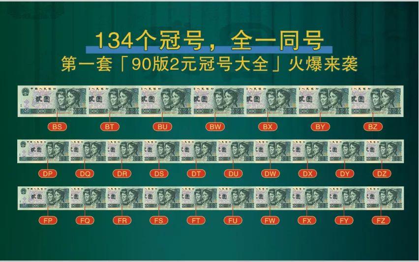 全新 第四套人民币1990年版2元冠号大全珍藏册 共134张2元冠号钞 【送分币大全一套】,人民币收藏,中国钱币收藏网,纸币收藏网